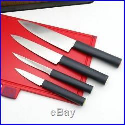 Premium Non-Slip Cutting Board Set with 4 Knives, Stainless Steel Storage Case