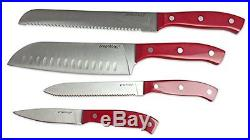 Prepology 4pc SS Cutlery Knife Set with Wooden Storage Case Red, New