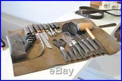 Professional Leather Knife Roll/Chefs Bag/Knife Carry Case/16 Pocket Storage Bag