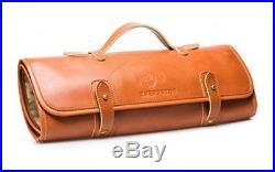 Professional Leather Knife Roll Up Storage Case Bag 8-Pocket Travel Picnic
