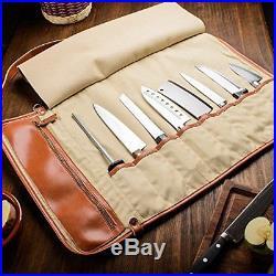 Professional Leather Knife Roll Up Storage Case Bag 8-Pocket Travel Picnic New