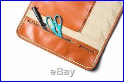 Professional Leather Knife Roll Up Storage Case Bag Travel Picnic 8-Pocket New