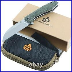 QSP Pelican Green Linen Micarta Linerlock Folding Pocket Knife and Storage Case