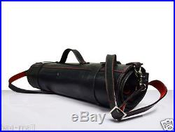 Real buff calfhide leather knife storage roll bag cutlery holder case chefs gift
