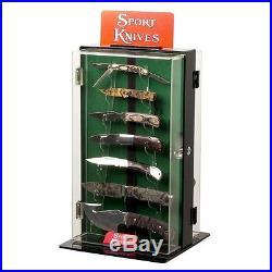 Rotating Knife Display Case Knives Showcase Glass Box Storage Cabinet Hunting