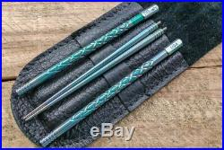 SK Knives Milled TiSushi Sticks Annod Green with Leather Storage Case