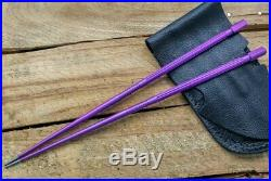 SK Knives Milled TiSushi Sticks Annodized Purple with Leather Storage Case