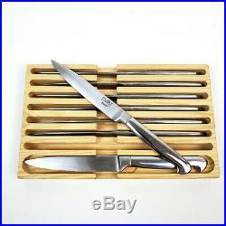 Sabatier BALANCE Steak Knife Set 8 Stainless Steel Knives withWood Storage Case