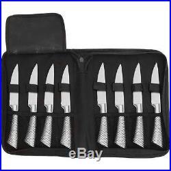 Slitzer 9pc Professional Stainless Steel Steak Knife Set Black Storage Case