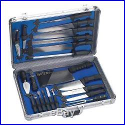 Slitzer Professional 22 PC Stainless Steel Kitchen Chef Knife Set Storage Case