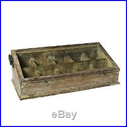 Solid Wood Divided Display Case WithGlass Top Jewelry Knives Collectibles Storage