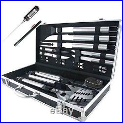 Stainless Steel BBQ Tool Set 19 Pcs Deluxe Storage Case Spatula Fork Tongs Knife
