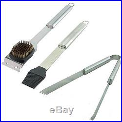 Stainless Steel BBQ Tool Set with Storage Case Fork Tongs Knife Brush Knives 19
