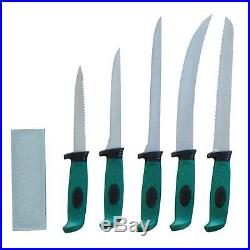 Stainless Steel Fishing and Hunting Knife with Black Storage Case (6-Piece)