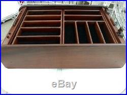 Tomway Teak Wood Sliding Door Pocket Knife Display Case Storage Cabinet Box