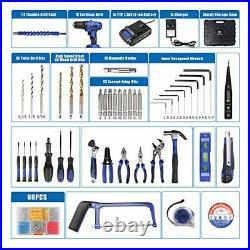 Tool Kit, 21V Cordless Drill, Household Hand Tool Set + Storage Case, Home DIY