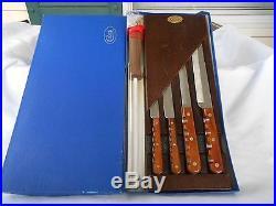 Vintage Case XX Cutlery Set Of 4 Knives + Sharpener Storage Tray Org. Casexx Bx