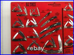 VINTAGE SCHRADE CUTLERY STORE DISPLAY CASE With 25 KNIVES OLD TIMER & UNCLE HENRY