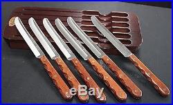 VINTAGE SET 6 CASE XX CAP254 STEAK KNIVES With ORIGINAL STORAGE BOARD 06CHB
