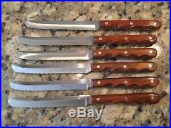 VINTAGE SET 6 CASE XX STEAK KNIVES M-254 With ORIGINAL STORAGE BOARD UNUSED