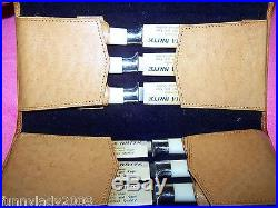VTG Perma Brite Knife Set Storage Case Stainless Steel Chrome White Handle JAPAN