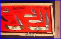 VTG Schrade Scrimshaw 7-Knife Stand Up Store Display Case 1980's Great American