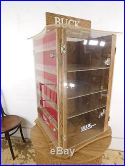 Vtg Standing Buck Knife Store Locking Display Storage Case