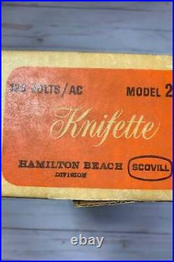 Vintage 1960s Hamilton Beach Scovill Cordless Rechargable Electric Knife