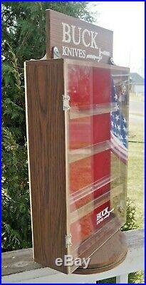 Vintage 1970s Era Wood Buck Knives Knife Advertising Store Display Case BEAUTY