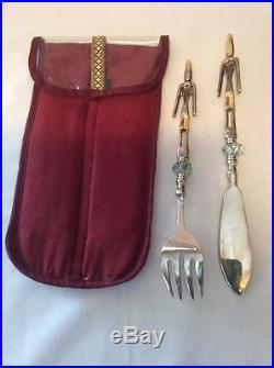 Vintage AFRICAN TRIBAL Fork Knife Serving Set Brass/Bronze/Glass Storage Case