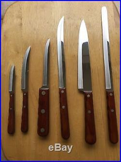 Vintage CASE XX 6 Piece Stainless Kitchen Knife Set With Wooden Storage Block