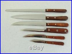 Vintage CASE XX (6) Piece Stainless Kitchen Knife Set With Wooden Storage Block