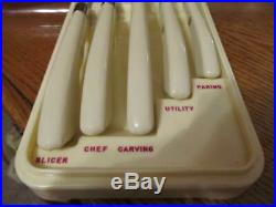 Vintage Carvel Hall Knives By Briddell. Rare Kitchen Set with Storage Case! Nice