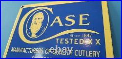 Vintage Case XX Knives Porcelain Quality Gas General Store Service Pump Sign