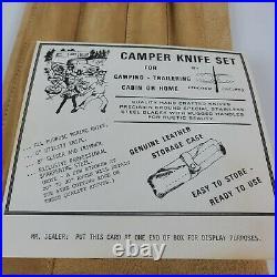 Vintage Chicago Cutlery Camper Knife Set With Leather Storage Case