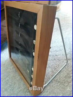 Vintage Gerber Knives Wooden Store Display Case with Knives