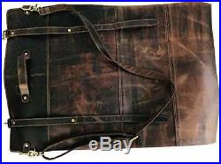 Vintage Leather Knife Roll Storage Bag Travel-Friendly Chef Kitchen Rolling Case