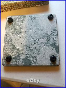Vintage Marble Cheese Board Knife And Lined Storage Case Green Beveled