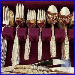 Vintage Rogers Cutlery 1S Golden Spring Garden 151 pieces Gold Flatware 24 Serv
