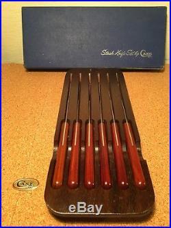 Vintage Set Of 6 Case XX # Cap254 Steak Knives With Original Storage Board