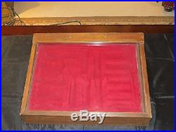 Vintage Wood & Glass Slanted Tabletop Buck Knife Display Case with Storage Area