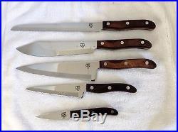 Vtg Chefco 5 Knives Set Storage Case French Chef Utility Paring Bread Butcher