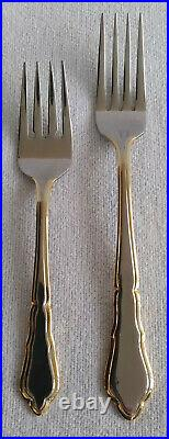 Vtg Flatware Silverplate Gold Accent Royal Limited 63 Piece with Wood Storage Case
