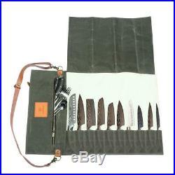 WESSLECO Chef Knife Bag Case Roll Bag Leather Case For Carrying Chef Knife Set