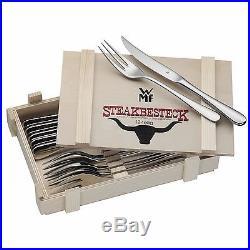 WMF Signum 12-Piece Steak Knife and Fork Set With Wood Storage Case