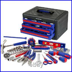 WORKPRO 125-Piece Auto Home Repair Kits Home Tool Set With 3-Drawer Storage Case