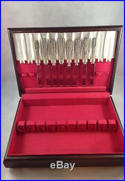 Westmoreland Sterling Silver Set of 8 Milburn Rose Knives W Storage Wood Case