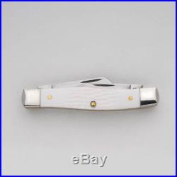 White Synthetic Medium Stockman Pocket Knife Blades Fold Into Handle Storage New