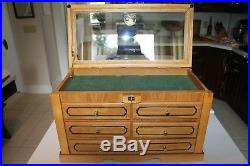 Wood and Glass Counter Display Case Collectibles Storage Knife Coin Stamp Toy