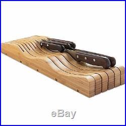Wooden Knife Block Storage Holder Rack Flatware In-Drawer 11 Knifes Slot Case
